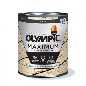 Olympic Maximum Wood Stain - Waterproofing Sealant - 1 Gallon, Ultra Clear