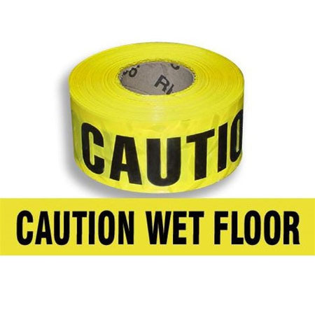 "Caution ""Wet Floor"" Banner Tape 3"" x 1000'"